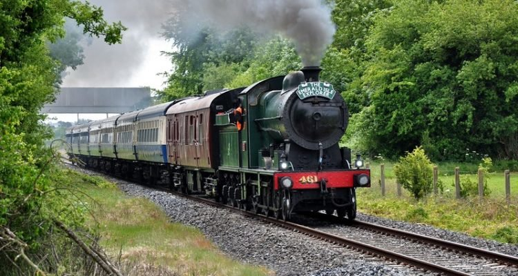 """461 steams past Shanderry on the outskirts of Portarlington with the 0840 Connolly - Galway ""Emerald Isle Explorer"". Fri 19.06.15"""