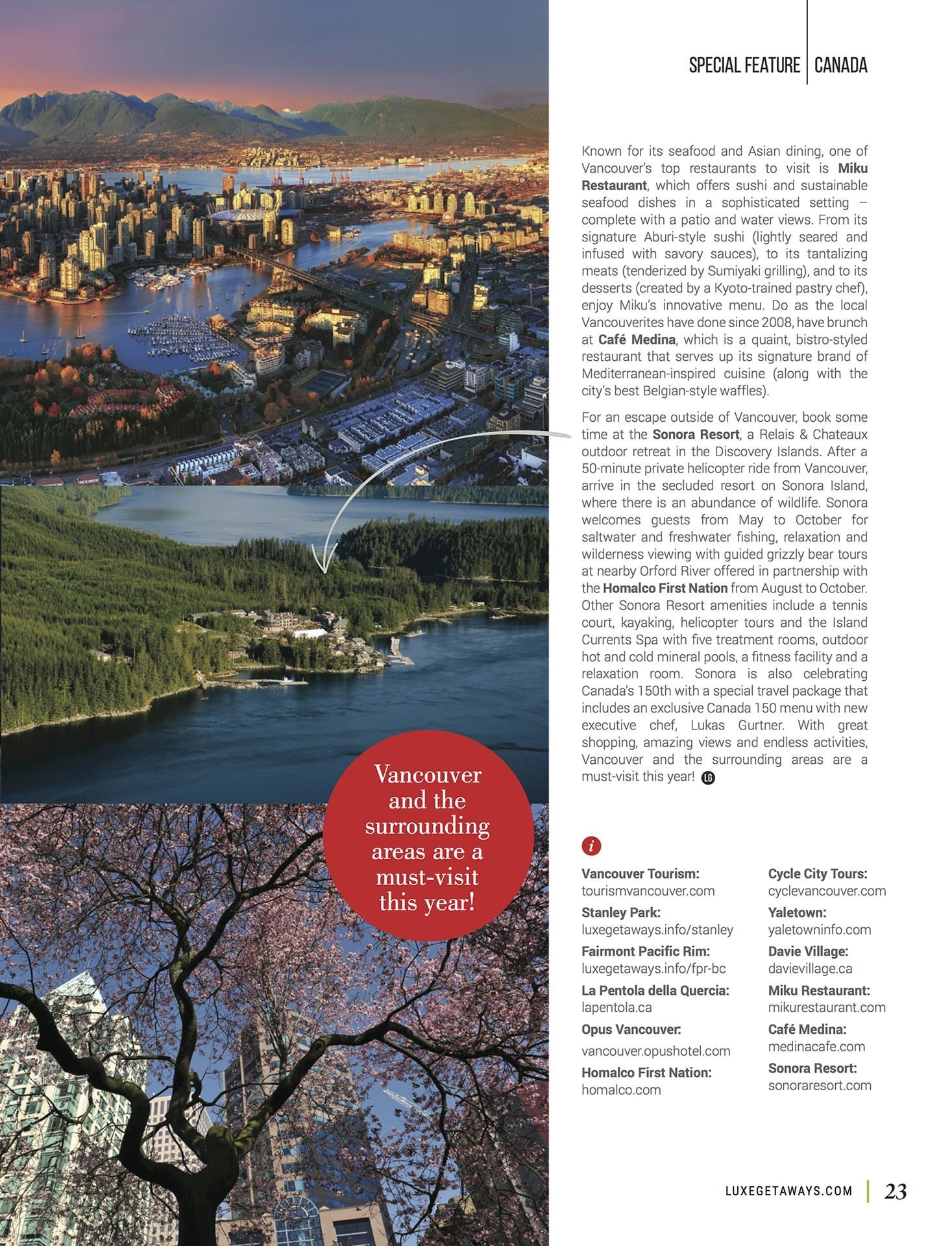 LuxeGetaways - Luxury Travel - Luxury Travel Magazine - Celebrate Canada - Canada Anniversary - Canada Travel Guide - Toronto Guide, Vancouver Guide, Montreal Guide