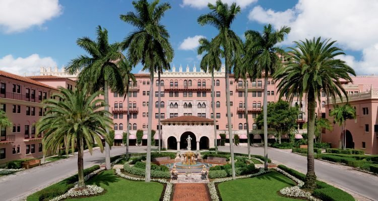 LuxeGetaways - Luxury Travel - Luxury Travel Magazine - The Boca Raton Resort by Waldorf Astoria - Exterior - Pink Hotel - Palm Trees