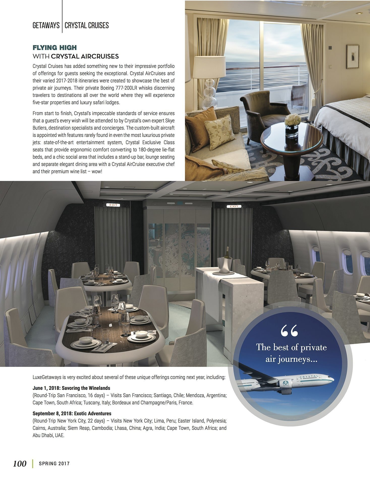 LuxeGetaways - Luxury Travel - Luxury Travel Magazine - Crystal Cruises - private jet travel - river cruise - luxury cruise - crystal aircruises