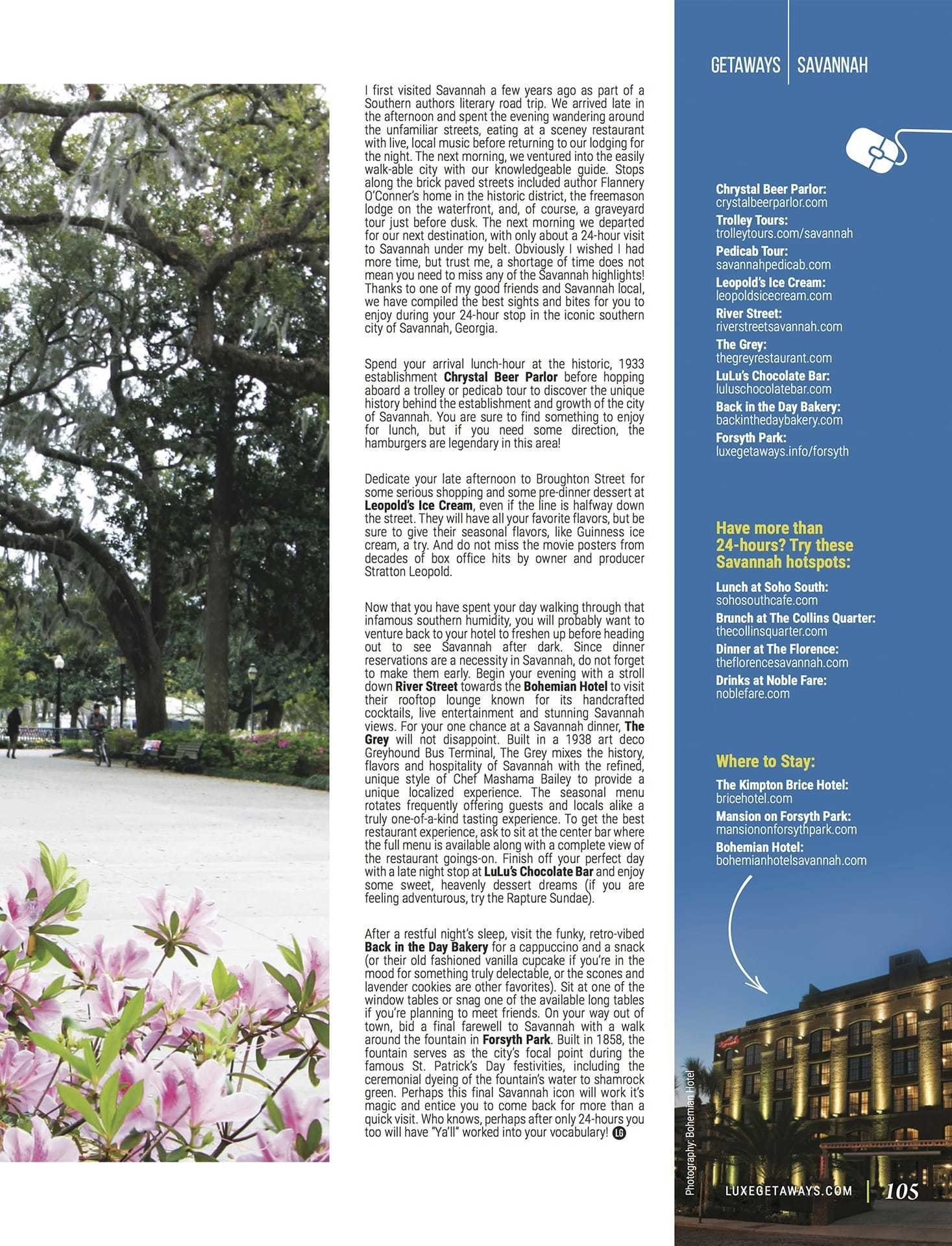 LuxeGetaways - Luxury Travel - Luxury Travel Magazine - Savannah