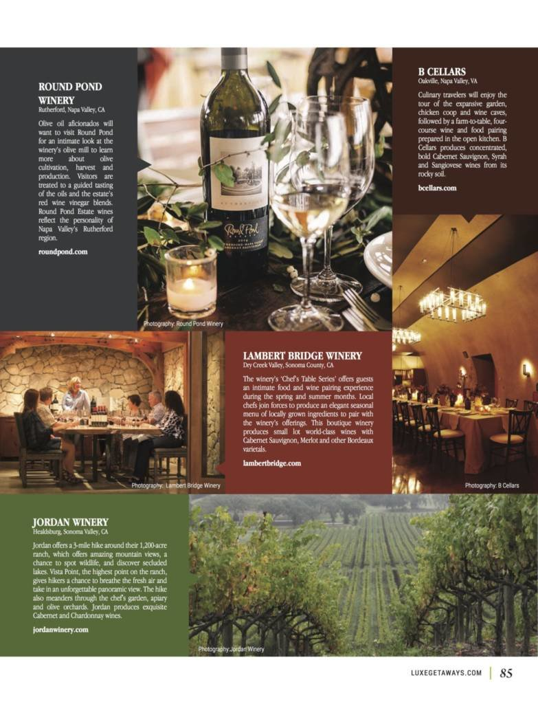 LuxeGetaways - Luxury Travel - Luxury Travel Magazine - Luxe Getaways - Luxury Lifestyle - Fall/Winter 2017 Magazine Issue - Digital Magazine - Travel Magazine - Winery Experiences - Wine - Wineries