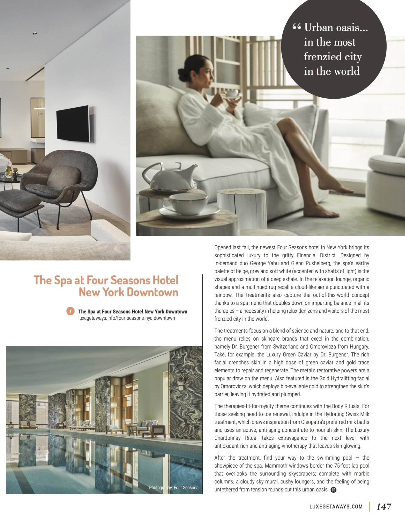LuxeGetaways - Luxury Travel - Luxury Travel Magazine - Luxe Getaways - Luxury Lifestyle - Fall/Winter 2017 Magazine Issue - Digital Magazine - Travel Magazine - Luxury Spa - Spa and Wellness