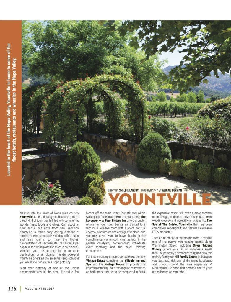 LuxeGetaways - Luxury Travel - Luxury Travel Magazine - Luxe Getaways - Luxury Lifestyle - Fall/Winter 2017 Magazine Issue - Digital Magazine - Travel Magazine - Yountville, Napa Valley, Abigail Dorman, Shelbie Landry