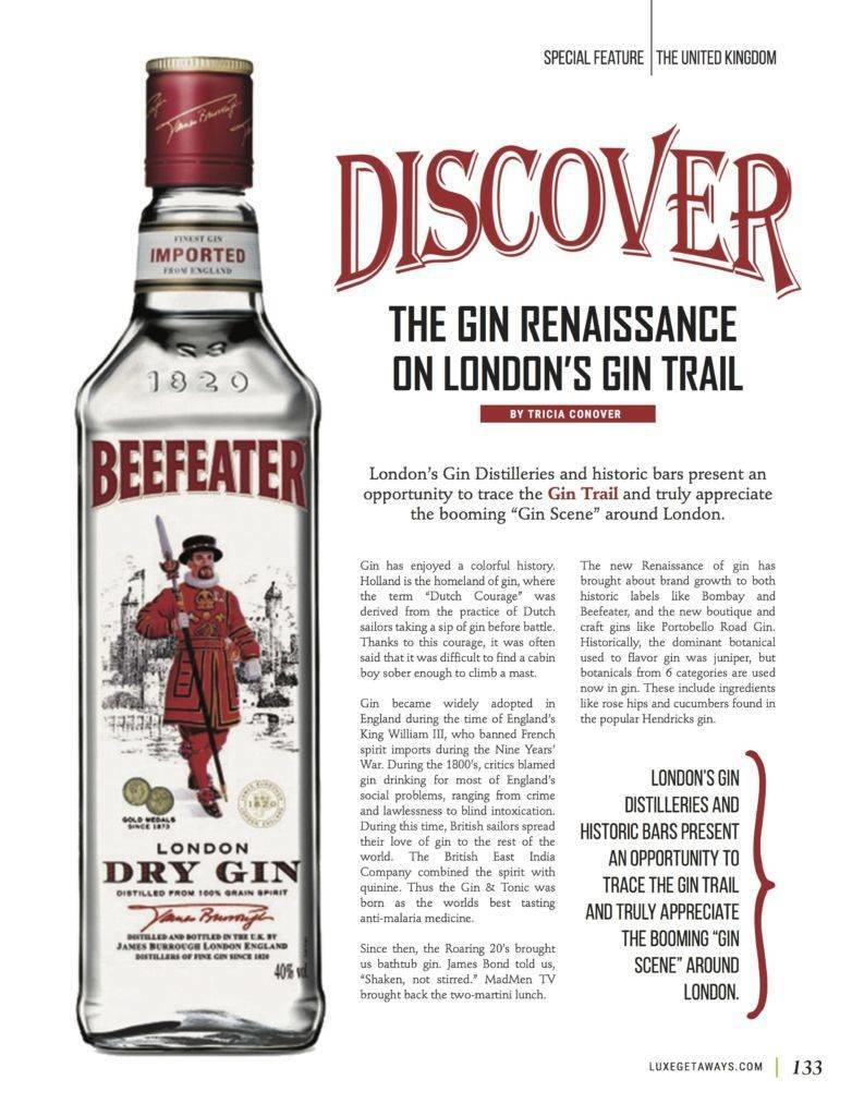 LuxeGetaways - Luxury Travel - Luxury Travel Magazine - Luxe Getaways - Luxury Lifestyle - Fall/Winter 2017 Magazine Issue - Digital Magazine - Travel Magazine - Tricia Conover - Gin Renaissance - Gin Trail